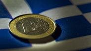 Eine Euro-Münze liegt auf einer Griechenland-Flagge. © dpa Fotograf:  Federico Gambarini