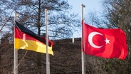 Die deutsche und die türkische Flagge sind am 24.02.2017 in Hamburg an Fahnenmasten vor der Ditib Merkez Mescid-i Aksa Moschee zu sehen. © dpa Foto: Christian Charisius