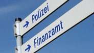 Zwei Schilder mit der Aufschrift Finanzamt und Polizei, aufgenommen in Miesbach (Bayern) am 24.04.2013. © dpa Foto:  Tobias Hase