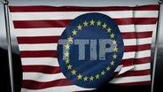 Flagge mit rot-weißen Querstreifen und dunkelblauem EU-Kreis. In der Mitte steht TTIP. © NDR