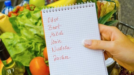 Eine Frauenhand hält eine Einkaufsliste über einen mit Gemüse gefüllten Einkaufswagen. © fotolia Fotograf: Gina Sanders