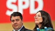 SPD-Vorsitzende Sigmar Gabriel und SPD-Generalsekretärin Andrea Nahles auf dem SPD-Bundesparteitag im November 2009 © dpa Fotograf: Peter Kneffel