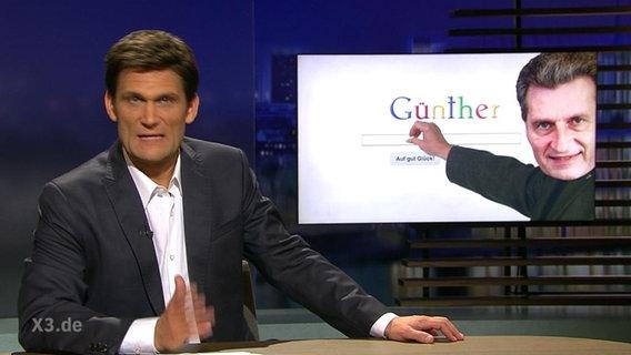 Christian Ehring vor einem Bild von Günther Oettinger.