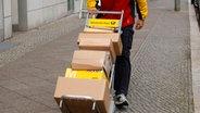 Ein Zulieferer mit zahlreichen Paketen auf einer Sackkarre © dpa Foto: Wolfram Steinberg