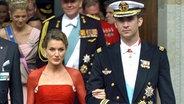 14. Mai 2004: Der spanische Kronprinz Felipe und seine Verlobte Letizia zu Gast bei der dänischen Traumhochzeit von Frederik mit Mary © Picture-Alliance / dpa Foto: Boris Roessler