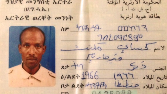 Der eritreische Pass von Kahsay Mekonen