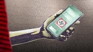 Grafik: Hakenkreuz auf dem Handy © NDR