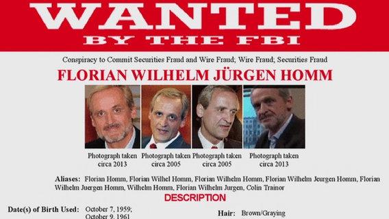 Fahndungsplakat des FBI für Florian Homm.