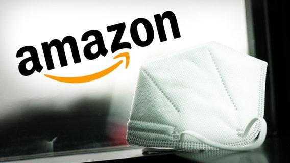 Eine FFP2-Maske liegt vor dem Logo der Firma Amazon © NDR/ARD Foto: Screenshot