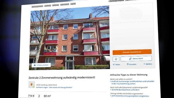 Wohnungsanzeige © NDR Foto: Screenshot