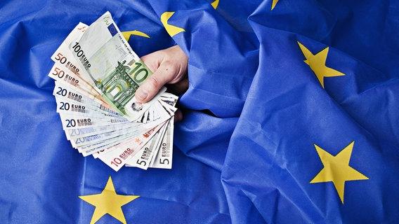 Geldscheine auf der EU-Fahne © picture alliance/Rene Fluger/CTK/dpa Foto: Rene Fluger
