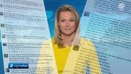 Anja Reschke in den Tagesthemen am 5. August 2015 - eingerahmt von Online-Kommentaren (Fotomontage). © NDR Fotograf: Screenshot