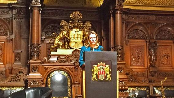 Anja Reschke bei ihrer Rede zum Frauentag im Hamburger Rathaus. © Katharina Fegebank Foto: Katharina Fegebank
