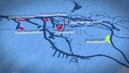 Grafik: Rot markiert: Hafenbecken, die für die Hafenerweiterung zugeschüttet werden sollen.