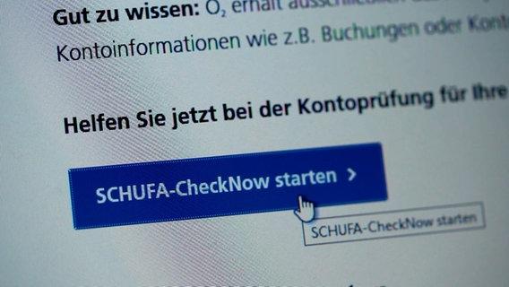 """CheckNow""-Funktion der Schufa © NDR/ARD Foto: Screenshot"