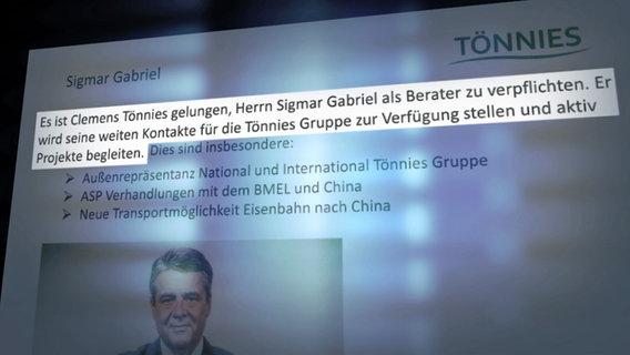 Die Personalie Sigmar Gabriel beim Unternehmensbeirat des Fleischproduzenten Tönnies © NDR/ARD Foto: Screenshot